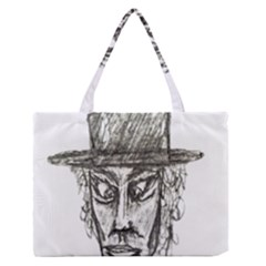 Man With Hat Head Pencil Drawing Illustration Medium Zipper Tote Bag