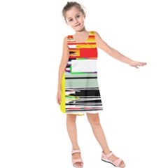 Lines And Squares  Kids  Sleeveless Dress