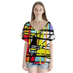 Casual abstraction Flutter Sleeve Top