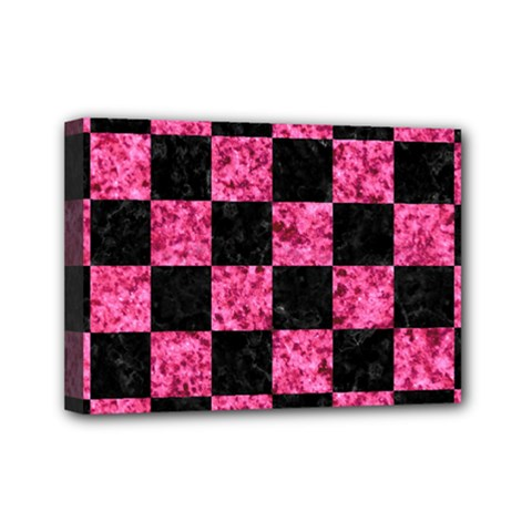 Square1 Black Marble & Pink Marble Mini Canvas 7  X 5  (stretched)