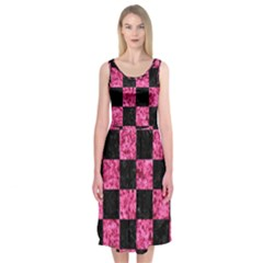 SQR1 BK-PK MARBLE Midi Sleeveless Dress