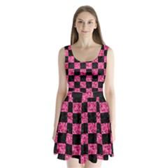 SQR1 BK-PK MARBLE Split Back Mini Dress