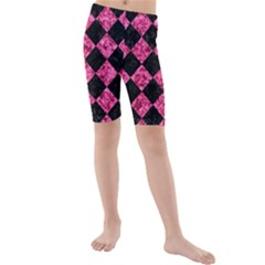 SQR2 BK-PK MARBLE Kids  Mid Length Swim Shorts
