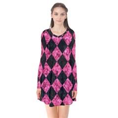Square2 Black Marble & Pink Marble Long Sleeve V Neck Flare Dress
