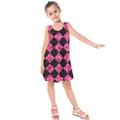Square2 Black Marble & Pink Marble Kids  Sleeveless Dress
