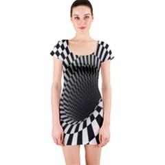 Optical Illusions Short Sleeve Bodycon Dress