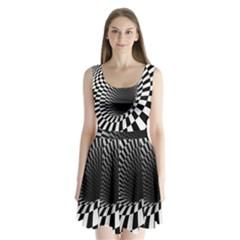 Optical Illusions Split Back Mini Dress