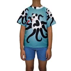 Panda Octopus Fish Blue Kids  Short Sleeve Swimwear