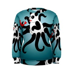 Panda Octopus Fish Blue Women s Sweatshirt