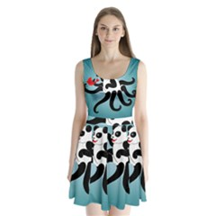 Panda Octopus Fish Blue Split Back Mini Dress