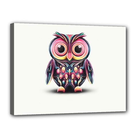 Owl Colorful Canvas 16  x 12