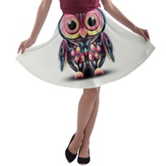 Owl Colorful A-line Skater Skirt