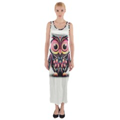 Owl Colorful Fitted Maxi Dress