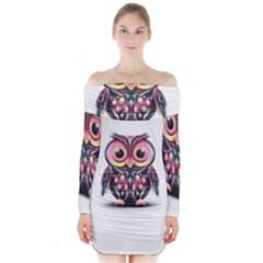 Owl Colorful Long Sleeve Off Shoulder Dress
