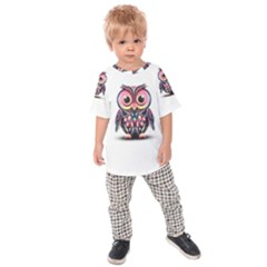 Owl Colorful Kids  Raglan Tee
