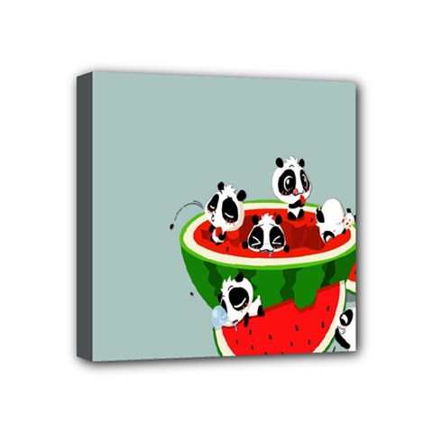 Panda Watermelon Mini Canvas 4  x 4
