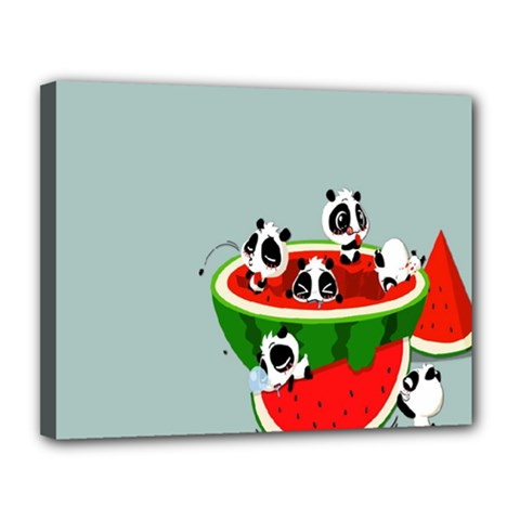 Panda Watermelon Canvas 14  x 11