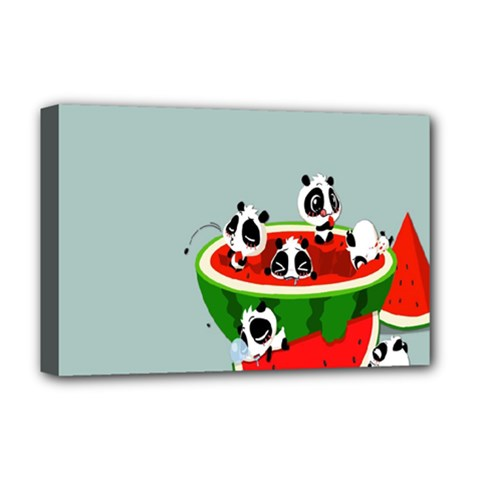 Panda Watermelon Deluxe Canvas 18  x 12