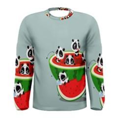 Panda Watermelon Men s Long Sleeve Tee