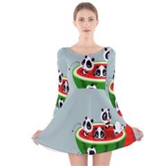 Panda Watermelon Long Sleeve Velvet Skater Dress