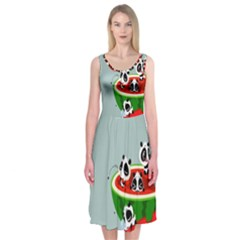 Panda Watermelon Midi Sleeveless Dress
