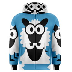 Sheep Animals Bleu Men s Zipper Hoodie