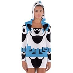 Sheep Animals Bleu Women s Long Sleeve Hooded T-shirt