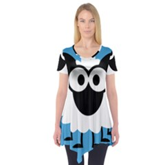Sheep Animals Bleu Short Sleeve Tunic