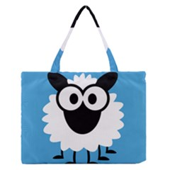 Sheep Animals Bleu Medium Zipper Tote Bag