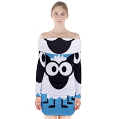 Sheep Animals Bleu Long Sleeve Off Shoulder Dress