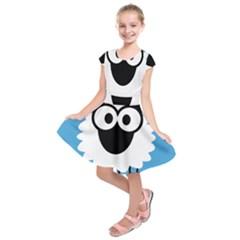 Sheep Animals Bleu Kids  Short Sleeve Dress