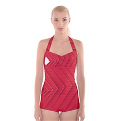 Rank Red White Boyleg Halter Swimsuit