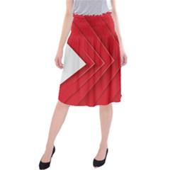 Rank Red White Midi Beach Skirt