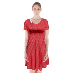 Rank Red White Short Sleeve V-neck Flare Dress