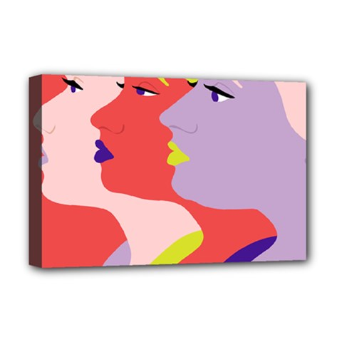 Three Beautiful Face Deluxe Canvas 18  x 12