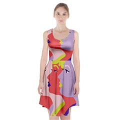 Three Beautiful Face Racerback Midi Dress