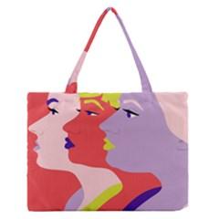 Three Beautiful Face Medium Zipper Tote Bag