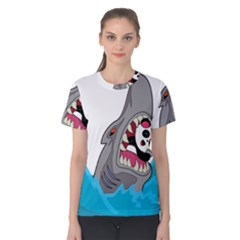 Panda Sharke Blue Sea Women s Cotton Tee