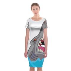 Panda Sharke Blue Sea Classic Short Sleeve Midi Dress