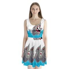 Panda Sharke Blue Sea Split Back Mini Dress