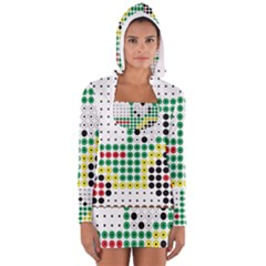 Tractor Perler Bead Women s Long Sleeve Hooded T-shirt