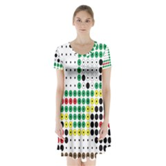 Tractor Perler Bead Short Sleeve V-neck Flare Dress