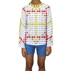 Vertical Horizontal Kids  Long Sleeve Swimwear
