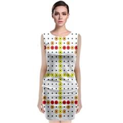 Vertical Horizontal Sleeveless Velvet Midi Dress