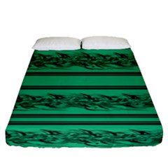 Green Barbwire Fitted Sheet (queen Size)