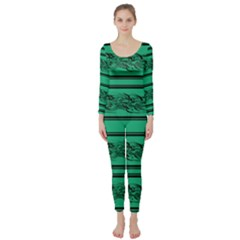 Green Barbwire Long Sleeve Catsuit