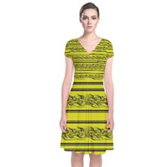 Yellow barbwire Short Sleeve Front Wrap Dress