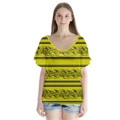 Yellow Barbwire Flutter Sleeve Top
