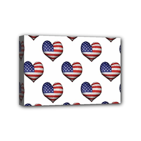 Usa Grunge Heart Shaped Flag Pattern Mini Canvas 6  x 4