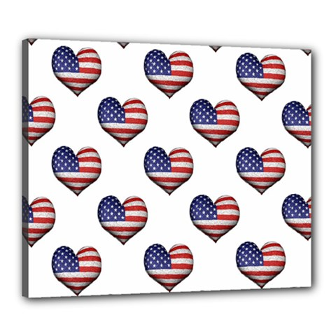 Usa Grunge Heart Shaped Flag Pattern Canvas 24  x 20